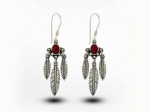 Western Inspired Earrings With Feather Dangles and Coral Stone