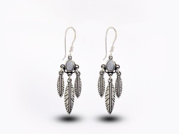 Western Inspired Earrings W/ Feather Dangles and Mother of Pearl