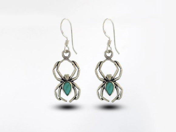 Spider Earrings with Turquoise Stone