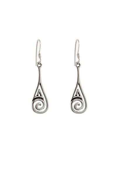 Silver Teardrop with Spiral Earrings