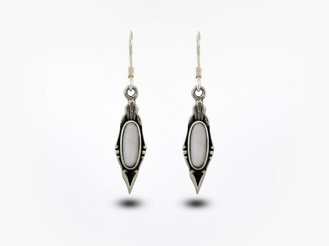 Elegant White Mother of Pearl Earrings with Oval Stone