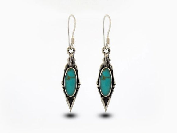 Elegant Turquoise Earrings with Oval Stone