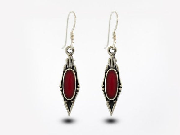 Elegant Coral Earrings with Oval Stone