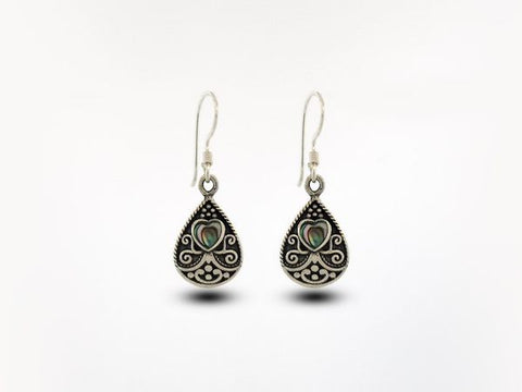 Bali Style Teardrop Earrings with Heart Shaped Abalone Stone