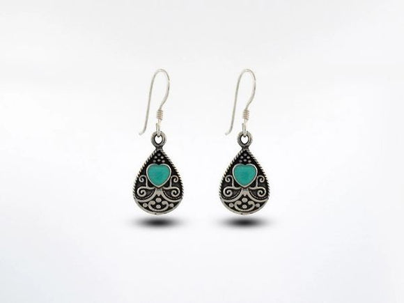 Bali Style Teardrop Earrings with Heart shaped Turquoise Stone