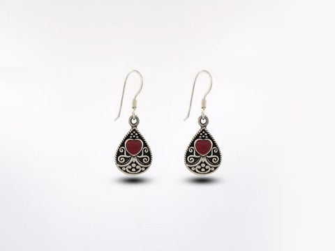 Bali Style Teardrop Earrings with Heart Shaped Coral Stone
