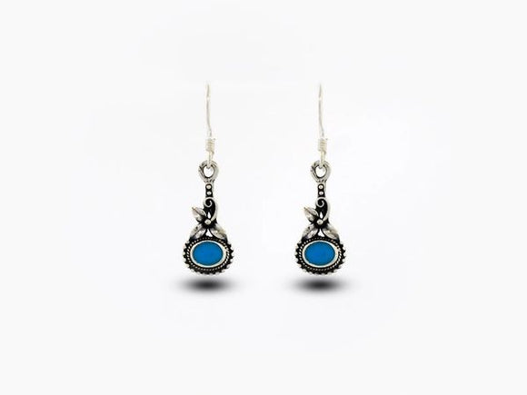 Flower Earrings with Blue Turquoise Stone