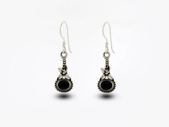 Flower Earrings with Oval Onyx Stone