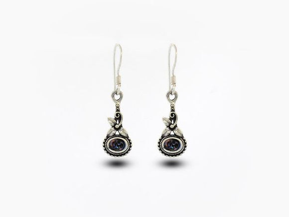 Flower Earrings with Oval Abalone Stone