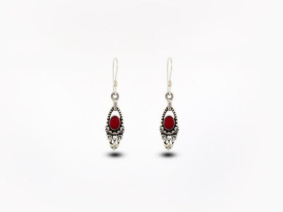 Bali Inspired Dangle Earrings with Coral Stone