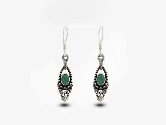 Bali Inspired Dangle Earrings with Turquoise Stone