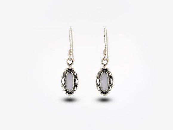 Mother Of Pearl Earrings With Oval Stone and Elegant Border