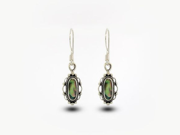 Abalone Earrings With Oval Stone and Elegant Border