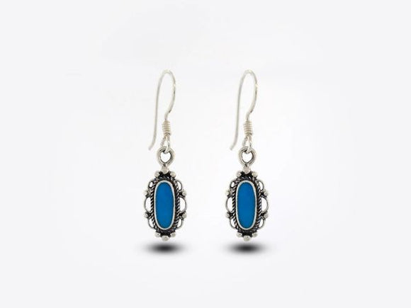 Blue Turquoise Earrings With Oval Stone and Elegant Border