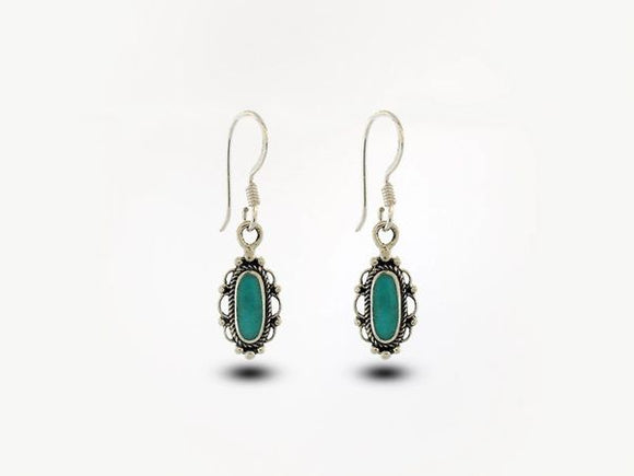 Turquoise Earrings With Oval Stone and Elegant Border