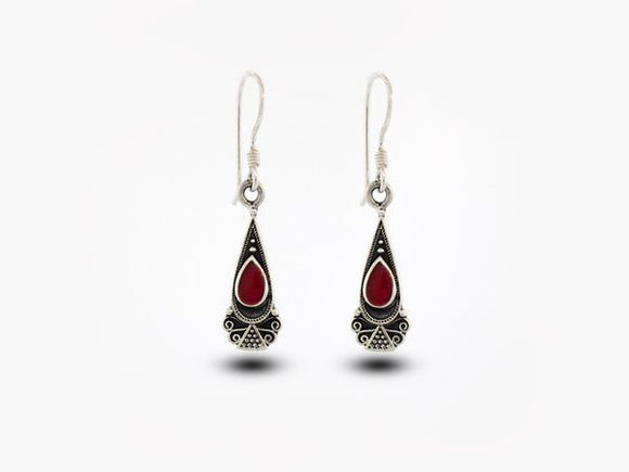 Bali Inspired Teardrop Shaped Earrings With Coral