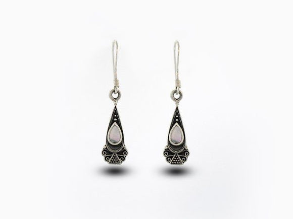 Bali Inspired Teardrop Shaped Earrings With Mother of Pearl