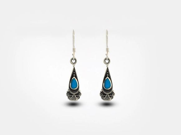 Bali Inspired Teardrop Shaped Earrings With Blue Turquoise