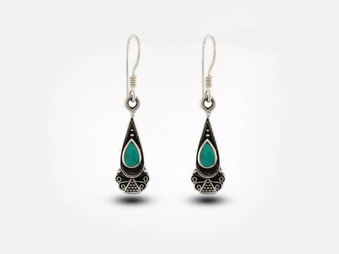 Bali Inspired Teardrop Shaped Earrings With Turquoise