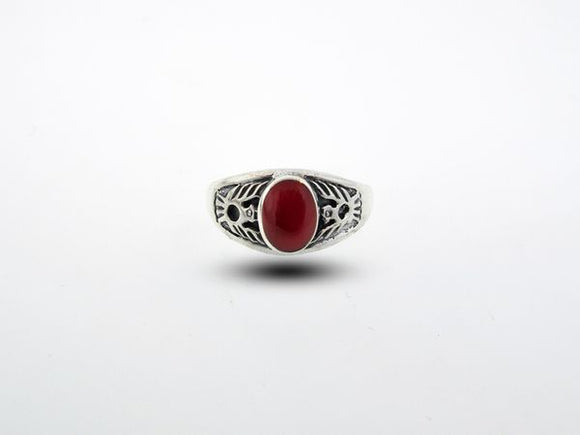Native American Inspired Coral Ring With Phoenix Design