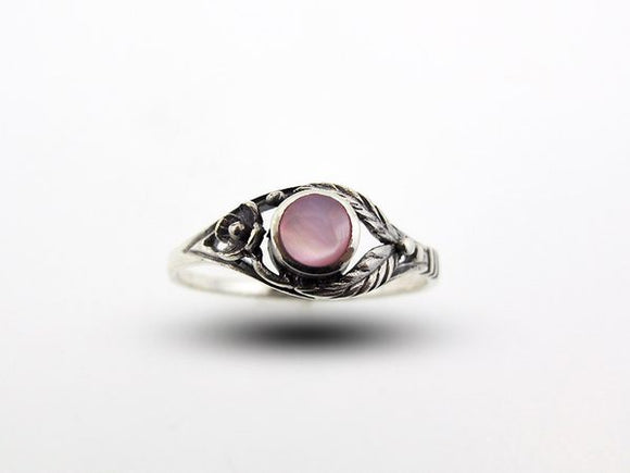 Pink Mother of Pearl Ring with Flower and Leaf Design