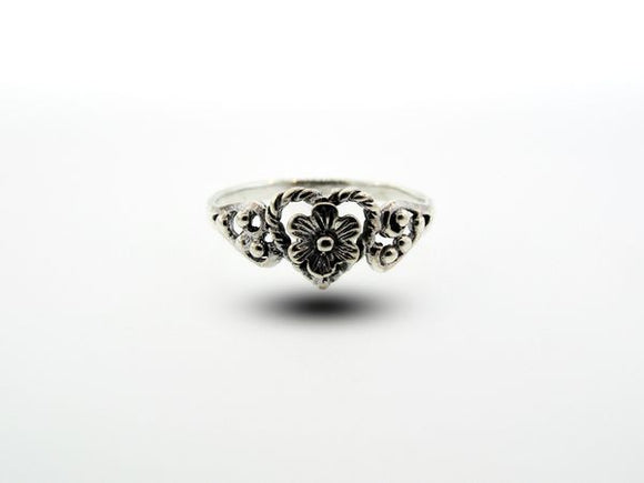 Sterling Silver Flowery Heart Ring