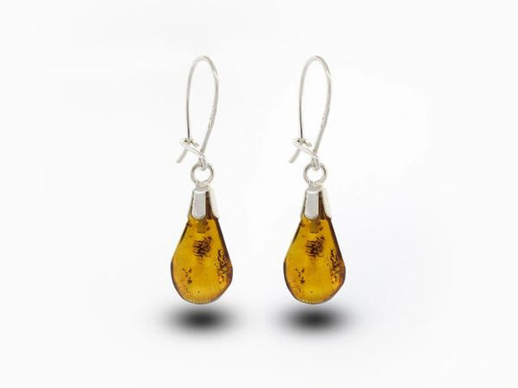 Small Cognac Amber Earrings Teardrop Shaped