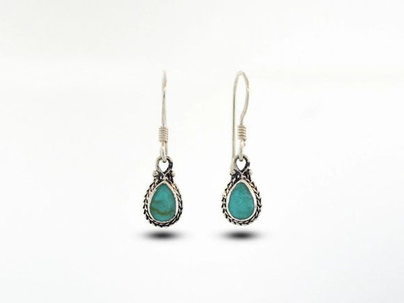 Teardrop Shaped Turquoise Earrings With Rope Border