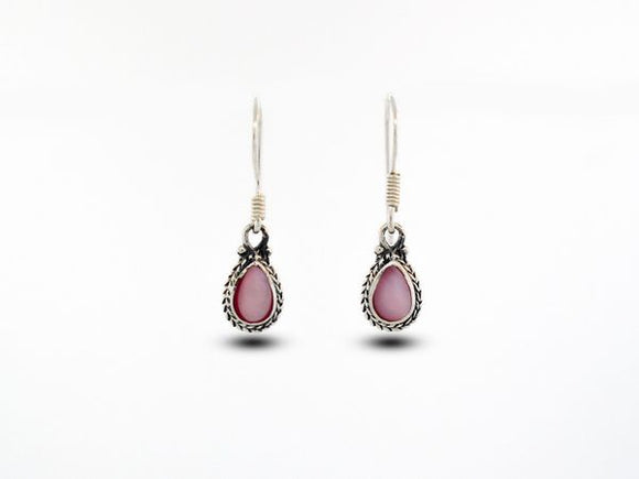 Teardrop Shaped Pink Mother of Pearl Earrings With Rope Border