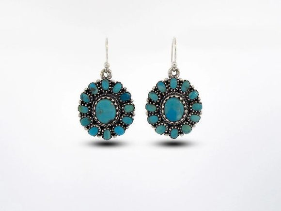 Western Inspired Genuine Turquoise Flower Design Earring Dangle