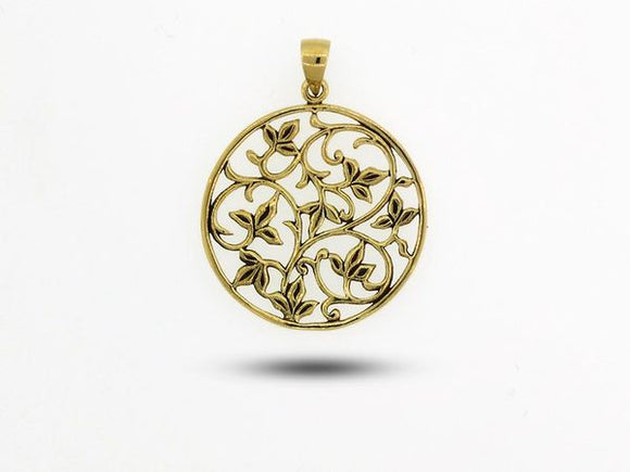 Vines and Leaves Charm with Gold Overlay