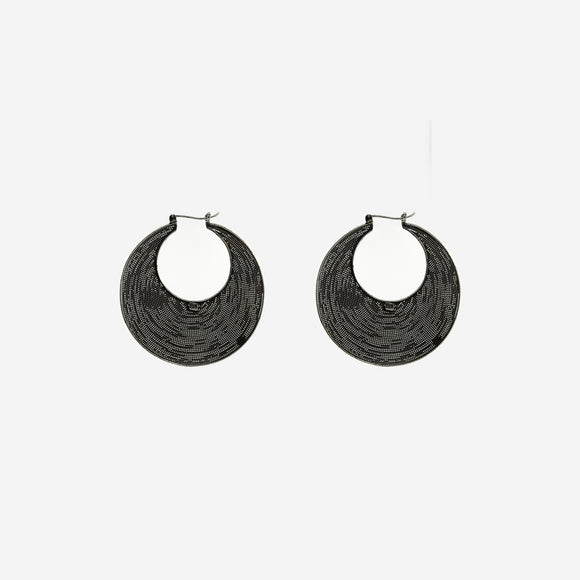 Bali Crescent Mesh Hinged Hoop Earrings
