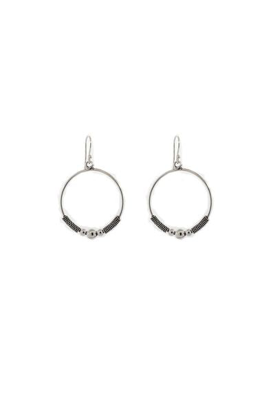 Bali Style Sterling Silver Circle Drop Earrings