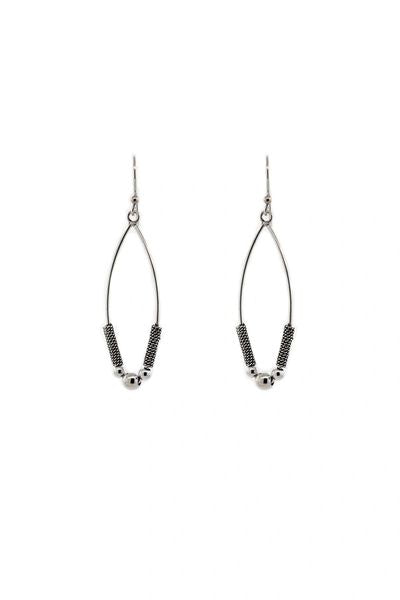 Bali Style Sterling Silver Marquise Drop Earrings