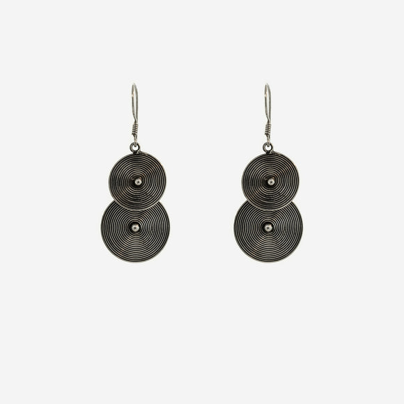 Bali Earrings with Two Spiral Disks
