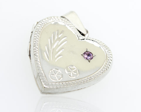 Heart Shaped Locket with Stone and Etching