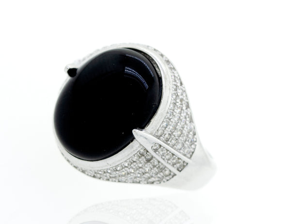 Onyx And Cubic Zirconia Ring