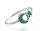 Turquoise Crescent Moon And Star Ring