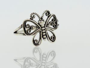 Butterfly Ring With Swirl Filigree Design