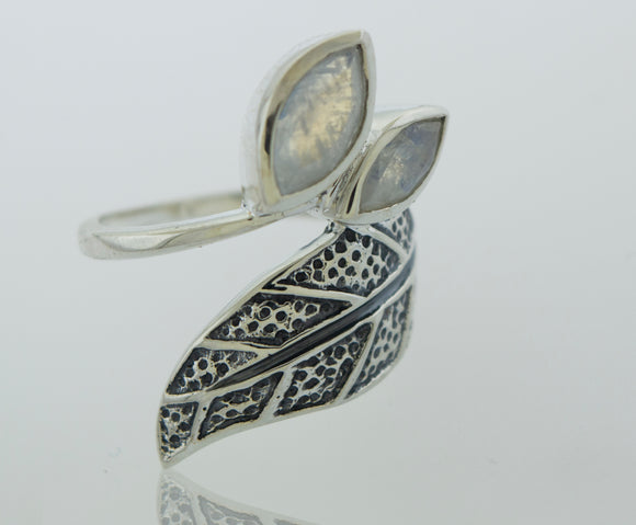 Leaf Ring with Moonstone