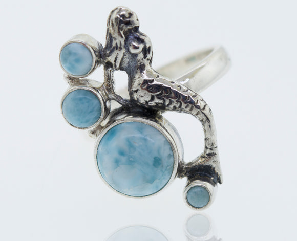 Mermaid Ring with Larimar