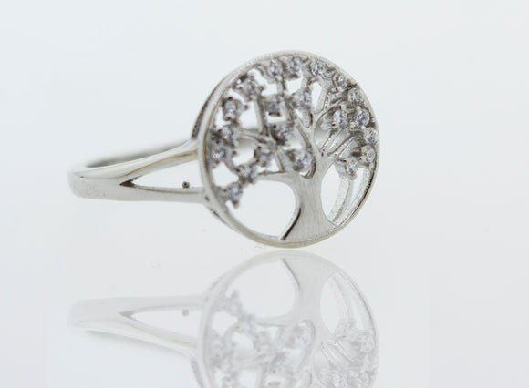 Cubic Zirconia Tree Of Life Ring