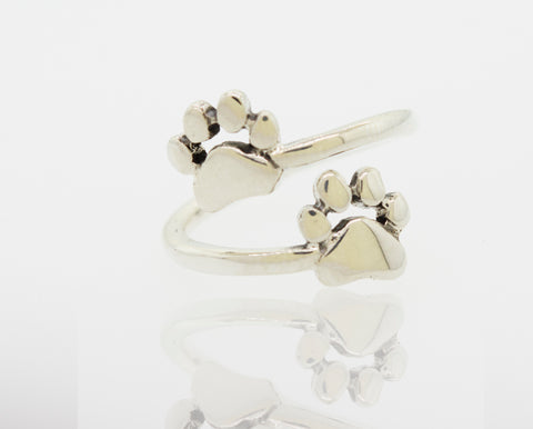 Dog Paw Print Adjustable Ring