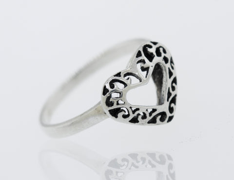 Heart Shaped Ring with Filigree Detailing