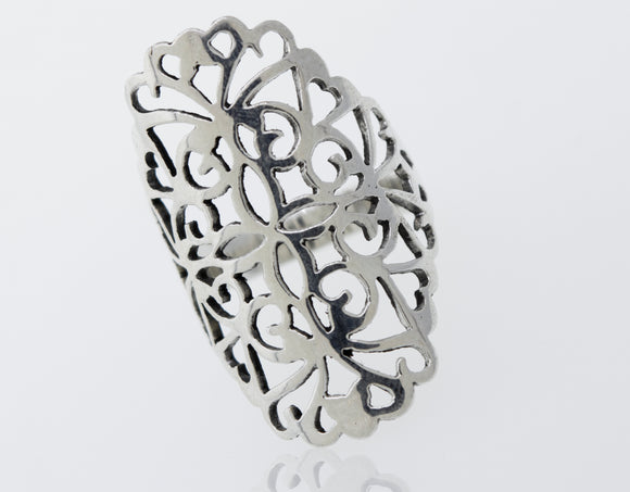 Freestyle Ring with Filigree and Flower Details