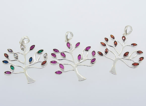 Tree of Life Pendant with Stone Leaves