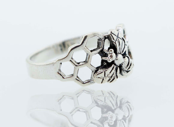 Honey Bee with Honeycomb Silver  Ring