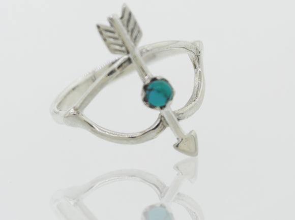 Turquoise Stone Ring With Bow And Arrow Design
