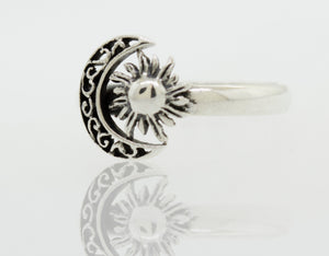 Crescent Moon And Sun Ring With Filigree Design