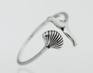 Shark Tail and Seashell Ring